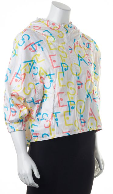 ADIDAS BY STELLA MCCARTNEY White Multi Graphic Print Raincoat Jacket