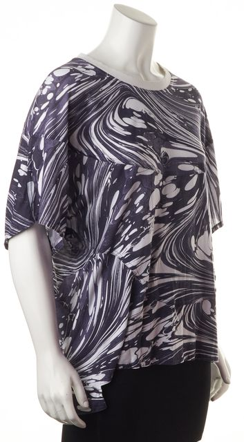 ADIDAS BY STELLA MCCARTNEY Purple White Abstract Print Relaxed Fit Tee Top