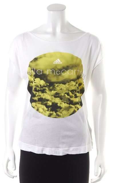 ADIDAS BY STELLA MCCARTNEY White Yellow Graphic Low Back Basic T-Shirt