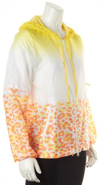 ADIDAS BY STELLA MCCARTNEY Yellow Orange White Leopard Print Windbreaker