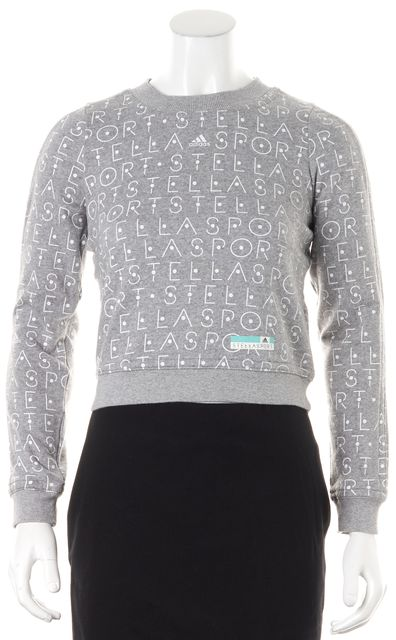ADIDAS BY STELLA MCCARTNEY Gray White Graphic Crewneck Sweatshirt Sweater