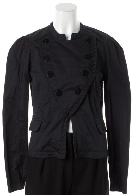ADIDAS BY STELLA MCCARTNEY Black Collarless Ruffle Military Jacket