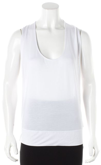 ADIDAS BY STELLA MCCARTNEY White Ruched Back Sleeveless Knit Jersey Top