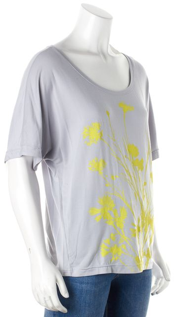 ADIDAS BY STELLA MCCARTNEY Gray Yellow Floral Graphic Knit Jersey Top