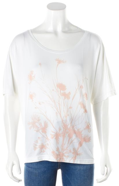 ADIDAS BY STELLA MCCARTNEY White Pink Graphic Floral Print Knit Jersey Top