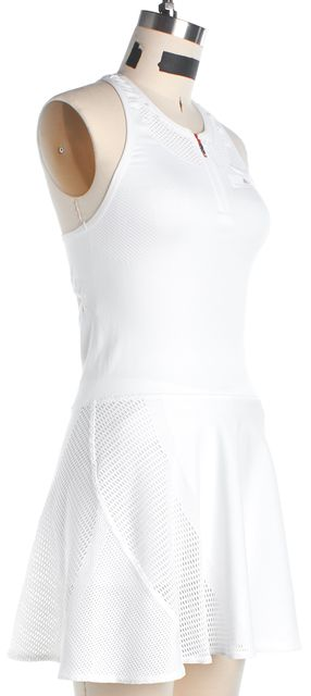 ADIDAS BY STELLA MCCARTNEY White Cut-Out Back Barricade Fit & Flare Dress