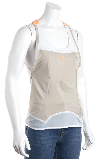 ADIDAS BY STELLA MCCARTNEY Beige White Coral Panel Active Tank Top