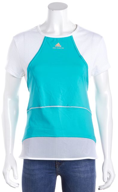 ADIDAS BY STELLA MCCARTNEY Teal White Short Sleeve Active T-Shirt
