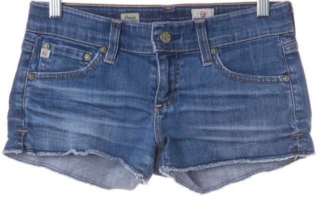 AG ADRIANO GOLDSCHMIED Blue Daisy Super Low Rise Denim Shorts Size 25
