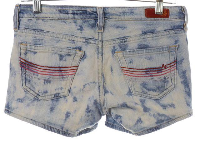 AG ADRIANO GOLDSCHMIED Blue Denim Bleach Distressed Shorts