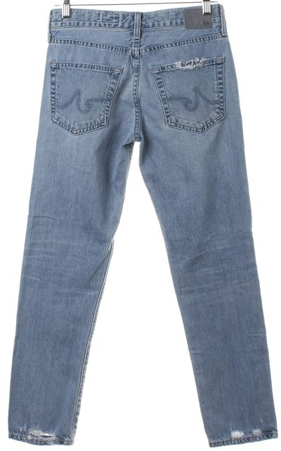 AG ADRIANO GOLDSCHMIED Blue Ex-Boyfriend Slim Slouchy Distressed Jeans