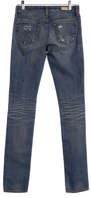 AG ADRIANO GOLDSCHMIED Blue Premier Skinny Straight Distressed Jeans