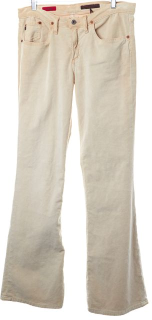 AG ADRIANO GOLDSCHMIED Ivory The Angel Cotton Corduroys Flared Leg Pants