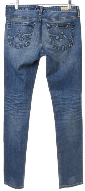 AG ADRIANO GOLDSCHMIED Blue Distressed Cigarette Leg Slim Fit Jeans