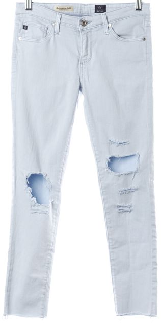 AG ADRIANO GOLDSCHMIED Light Blue Slim Fit Distressed Cut-Out Crop Jeans