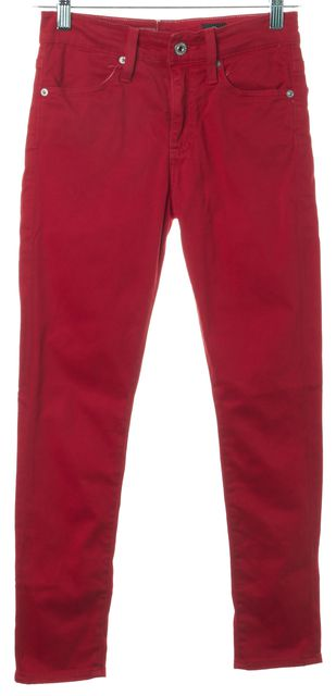 AG ADRIANO GOLDSCHMIED Red The Parrah High-Rise Skinny Cropped Jeans