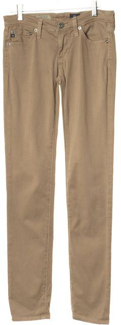 AG ADRIANO GOLDSCHMIED Beige Soft Denim The Stilt Cigarette Skinny Jeans