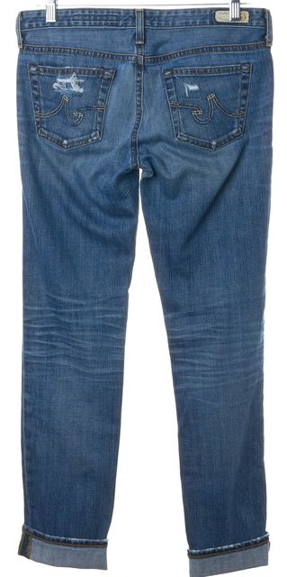 AG ADRIANO GOLDSCHMIED Blue Distressed Stilt Cigarette Slim Fit Jeans