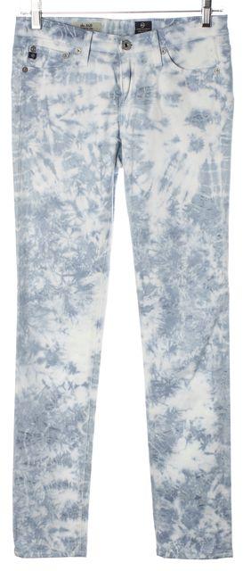AG ADRIANO GOLDSCHMIED Blue White Tie Dye Stilt Cigarette Leg Skinny Jeans