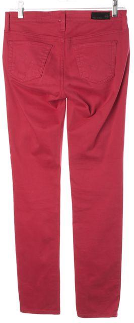 AG ADRIANO GOLDSCHMIED Red Soft Denim Stilt Cigarette Leg Skinny Jeans