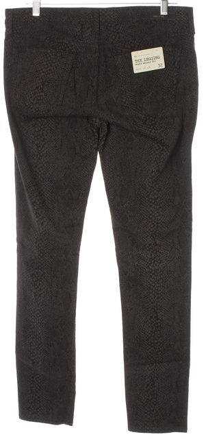 AG ADRIANO GOLDSCHMIED Gray Snake Print Legging Super Skinny Fit Jeans