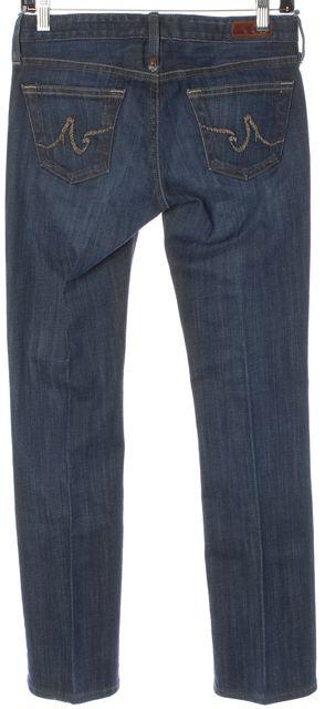AG ADRIANO GOLDSCHMIED Blue Dark Wash Contrast Stitch Kiss Skinny Jeans