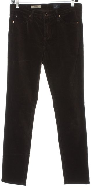 AG ADRIANO GOLDSCHMIED Brown The Prima Mid-Rise Cigarette Corduroys Pants