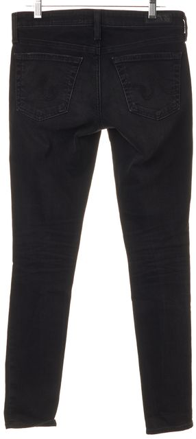 AG ADRIANO GOLDSCHMIED Black Distressed Legging Ankle Super Skinny Jeans