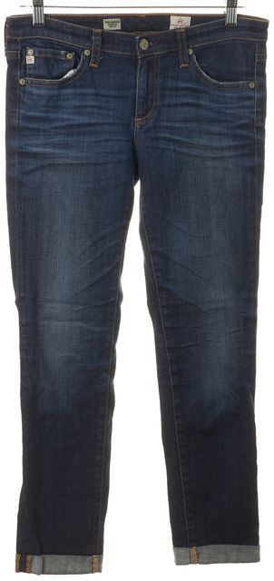 AG ADRIANO GOLDSCHMIED Blue Stilt Cigarette Roll-Up Cropped Jeans