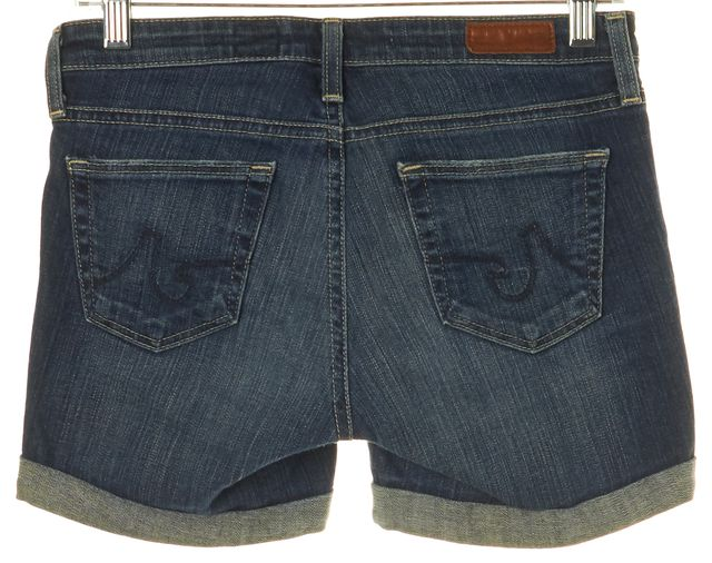 AG ADRIANO GOLDSCHMIED Blue Medium Wash Cuffed Denim City Short Shorts