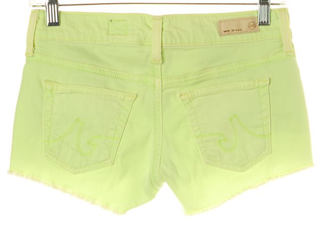 AG ADRIANO GOLDSCHMIED Neon Green Frayed Mini Shorts