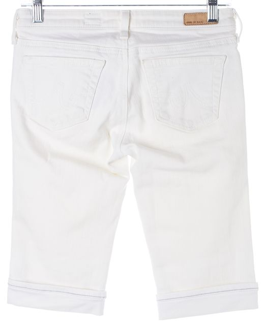 AG ADRIANO GOLDSCHMIED White Malibu Bermuda Cuffed Denim Shorts