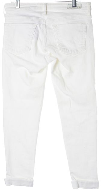 AG ADRIANO GOLDSCHMIED White Stilt Roll-Up Embroidered Cropped Jeans