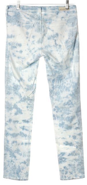AG ADRIANO GOLDSCHMIED Blue White Tie Dye The Stilt Skinny Jeans