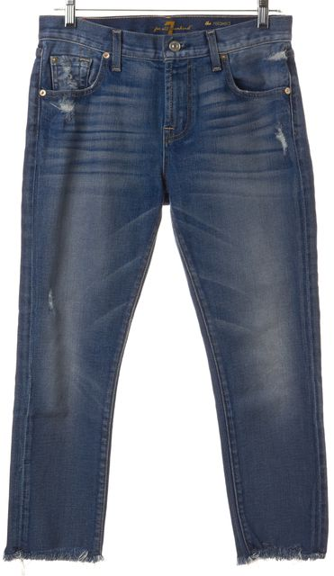 7 FOR ALL MANKIND Blue Whiskered Shredded Cuff Relaxed Skinny Jeans