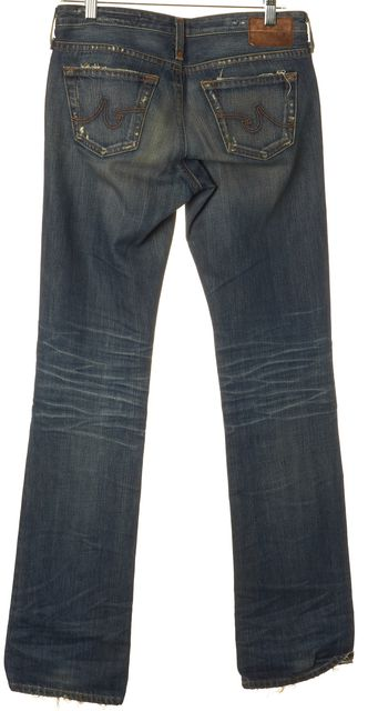 AG ADRIANO GOLDSCHMIED Blue Distressed The Kiss Slim Straight Leg Jeans