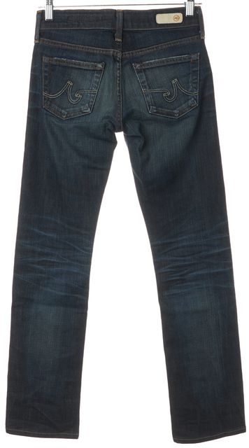 AG ADRIANO GOLDSCHMIED Blue Whiskered Mid-Rise Tomboy Boyfriend Jeans