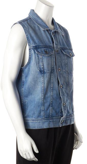 AG ADRIANO GOLDSCHMIED Blue Denim Button Down Sleeveless Shirt Vest
