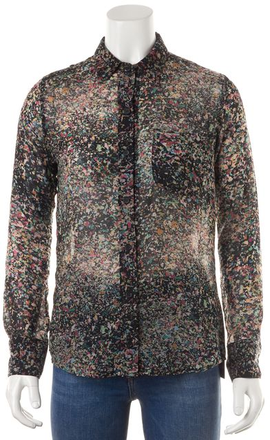 AG ADRIANO GOLDSCHMIED Black Pink Purple Confetti Print Sheer Blouse Top