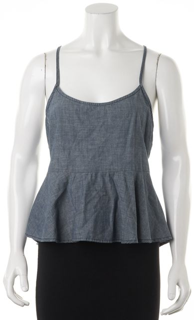 AG ADRIANO GOLDSCHMIED Blue Chambray Thin Strap Peplum Waist Blouse Top