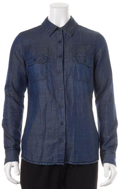 AG ADRIANO GOLDSCHMIED Blue Denim Button Down Frayed Bottom Shirt Top