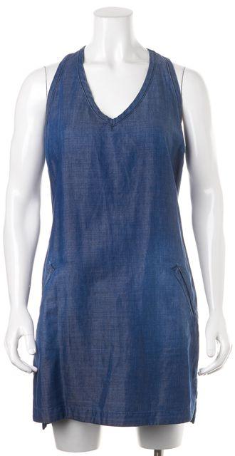 AG ADRIANO GOLDSCHMIED Blue Denim Two Pocket Sleeveless Mini Shift Dress