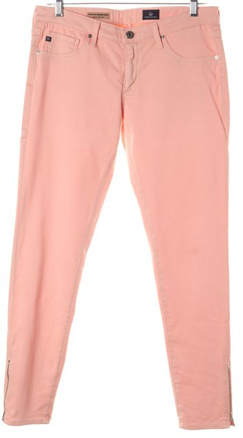 AG ADRIANO GOLDSCHMIED Pink Zip-Up Legging Ankle Skinny Jeans