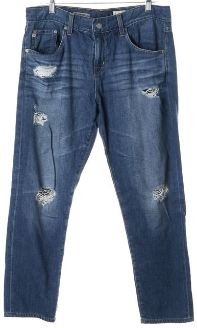 AG ADRIANO GOLDSCHMIED Blue Medium Wash Distressed Slouchy Slim Fit Jeans