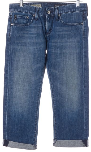 AG ADRIANO GOLDSCHMIED Blue Tomboy Relaxed Straight Cropped Jeans