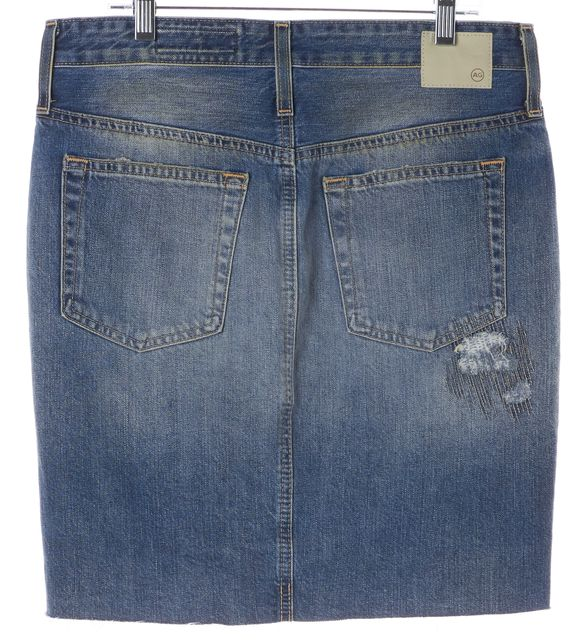 AG ADRIANO GOLDSCHMIED Blue Cotton Distressed Denim Erin Pencil Skirt