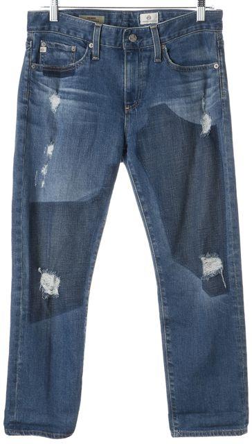 AG ADRIANO GOLDSCHMIED Blue The Drew Straight Leg Boyfriend Jeans