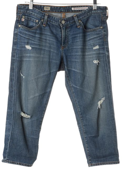 AG ADRIANO GOLDSCHMIED Blue Distressed Maiden Capri Jeans
