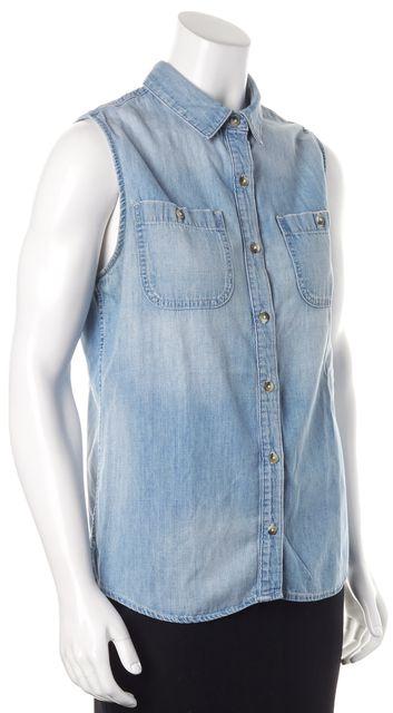 AG ADRIANO GOLDSCHMIED Blue Jean Denim Sleeveless Button Down Shirt