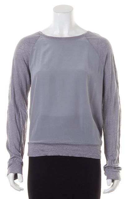 AG ADRIANO GOLDSCHMIED Gray Linen Crepe Silk Blouse Top